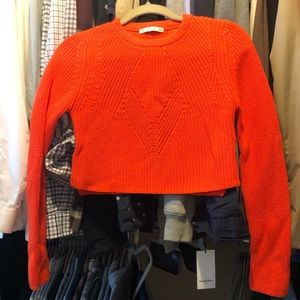 Zara Crop Knit Sweater - Medium, Bright Orange